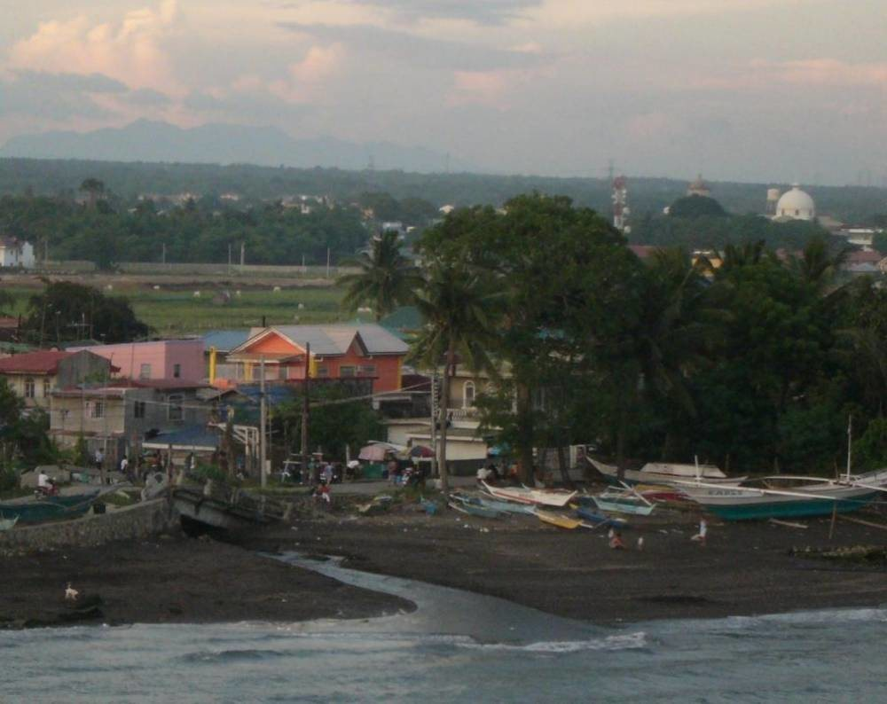Bauan, Batangas - Cathedral and a beach front scene with broken bridge