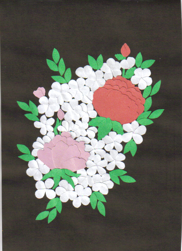 white collage bouquet