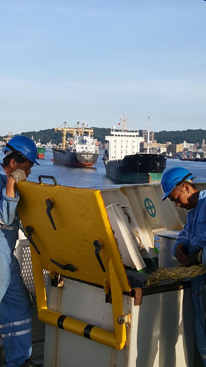 Stowing the Ropes. Cable Retriever leaving Kaohsiung