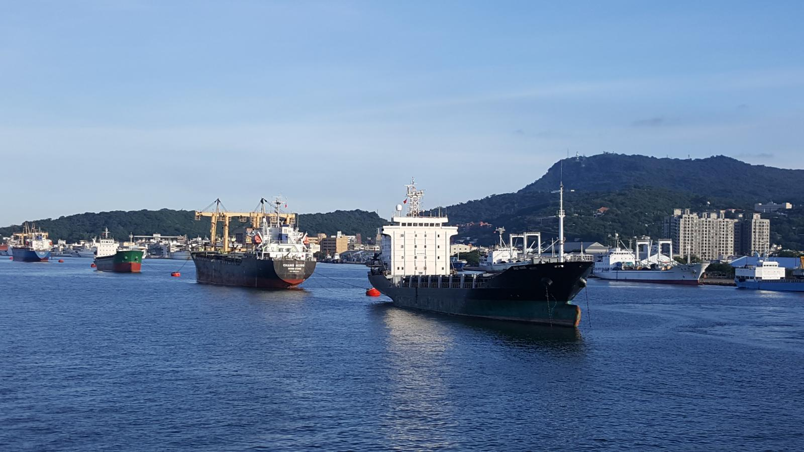 Ships tied-up to the Mooring Buoys in Kaohsiung