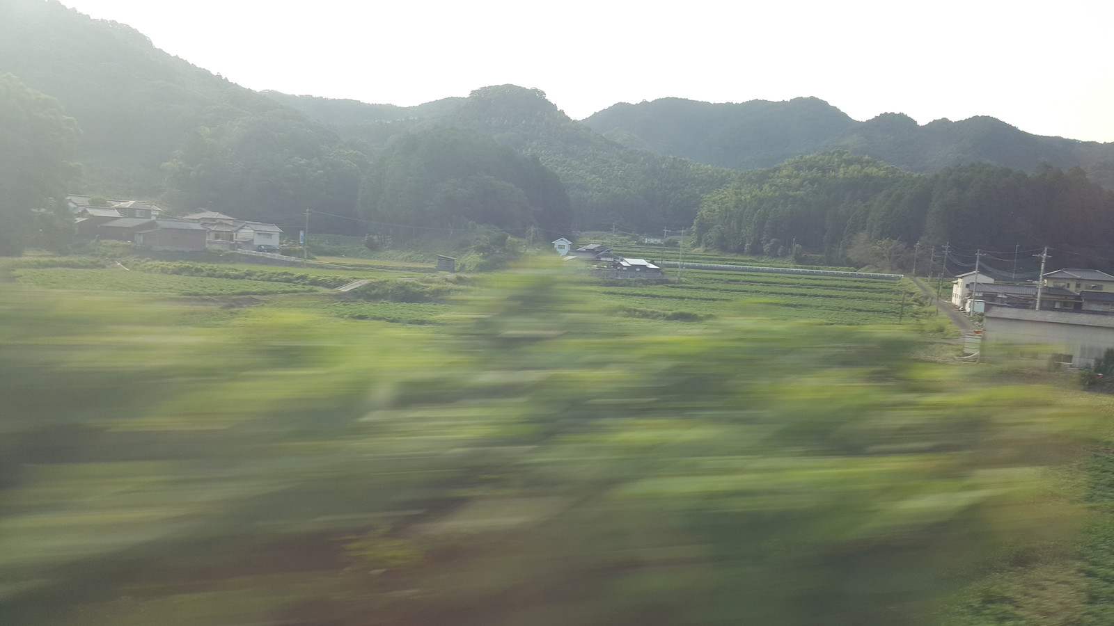 Northern Kyushu countryside whizzing by on the Shinkansen