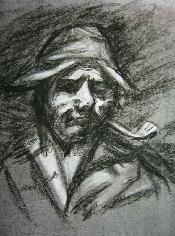 Gustave Courbet - practice sketch using charcoal