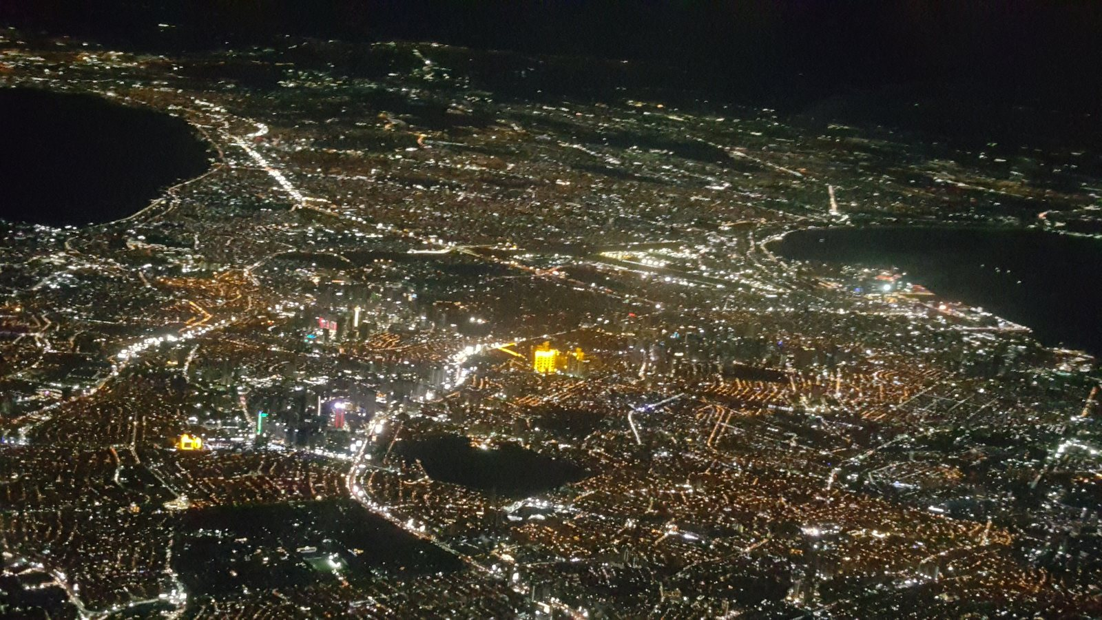 Night view of Manila from the air