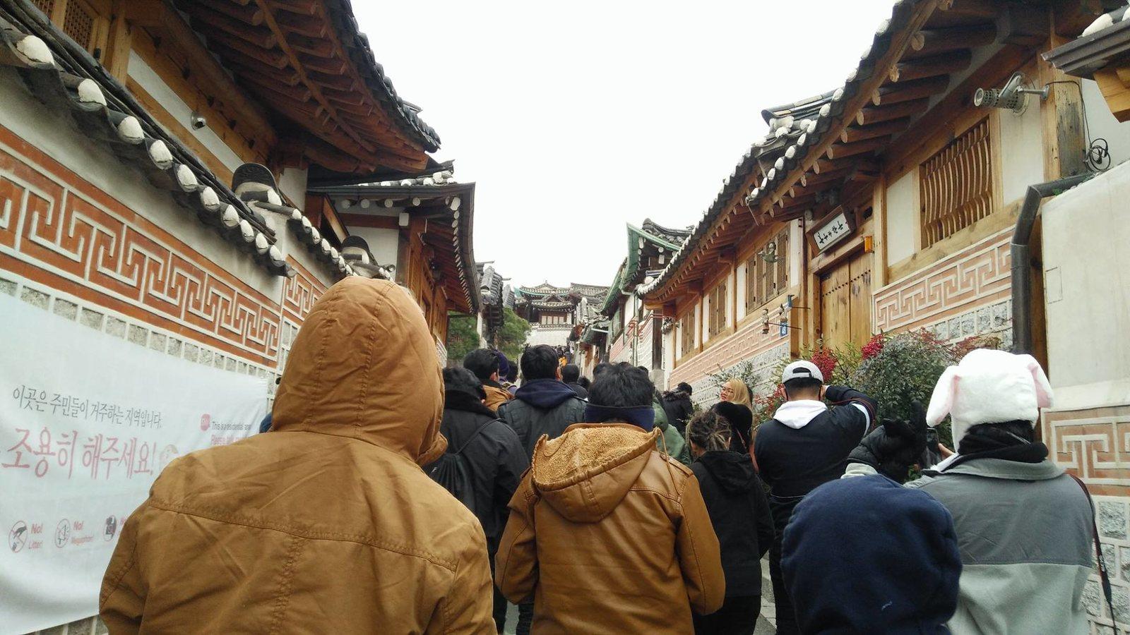 Crowd in Bukchon Hanok Village