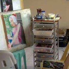 Amateur pastel painting artist's studio
