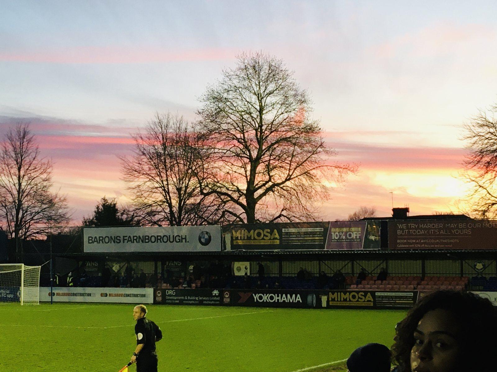 Winter sunset over Aldershot FC Stadium