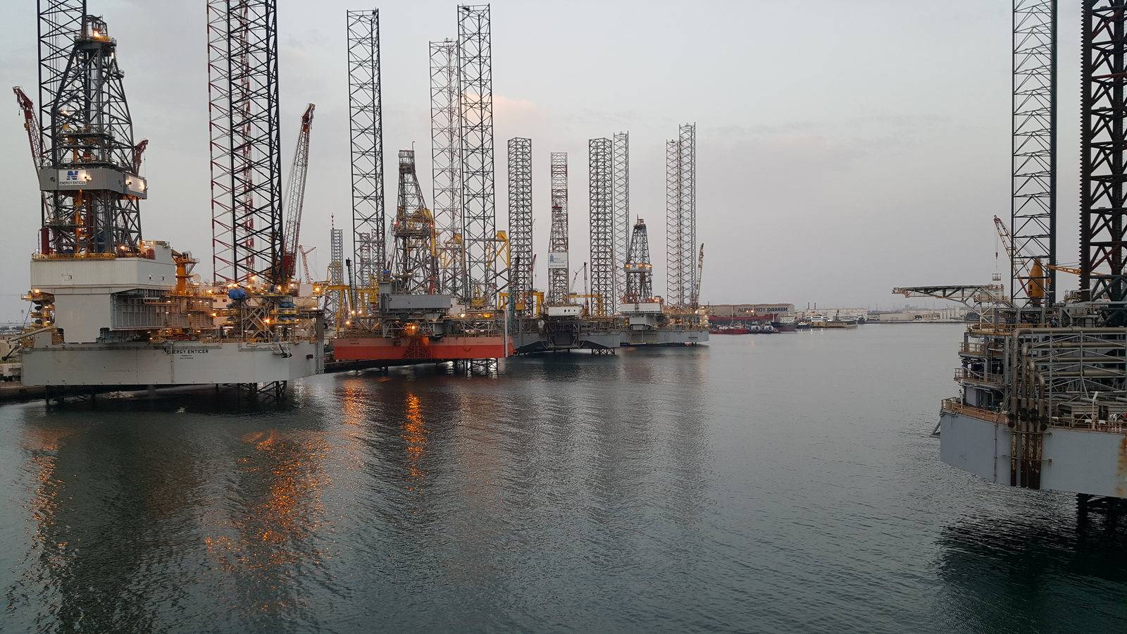 Energy Enticer and some other drilling rigs in Hamriyah Port