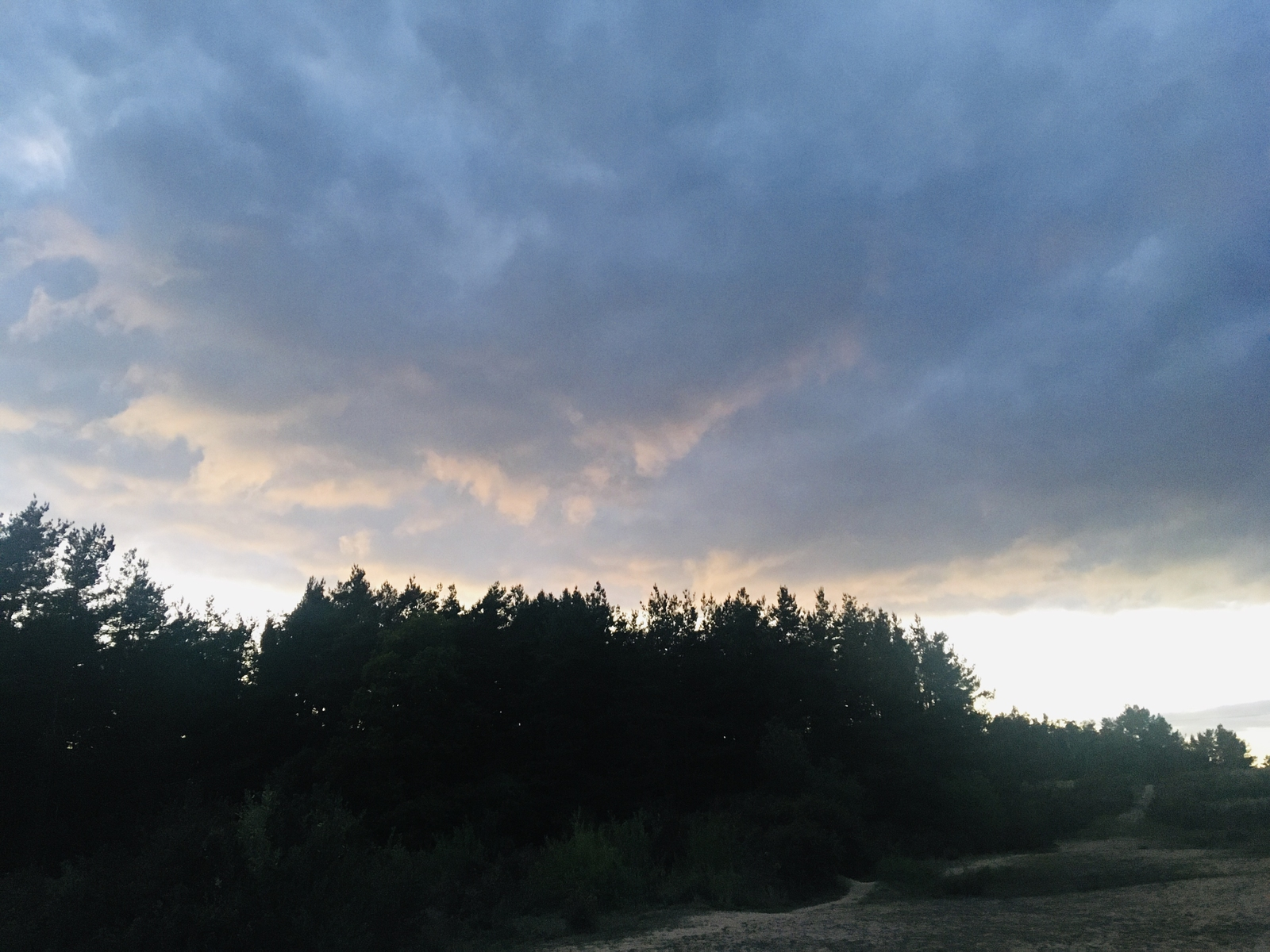 Angry looking clouds over the Hogmoor Inclosure, in Whitehill, Hampshire.