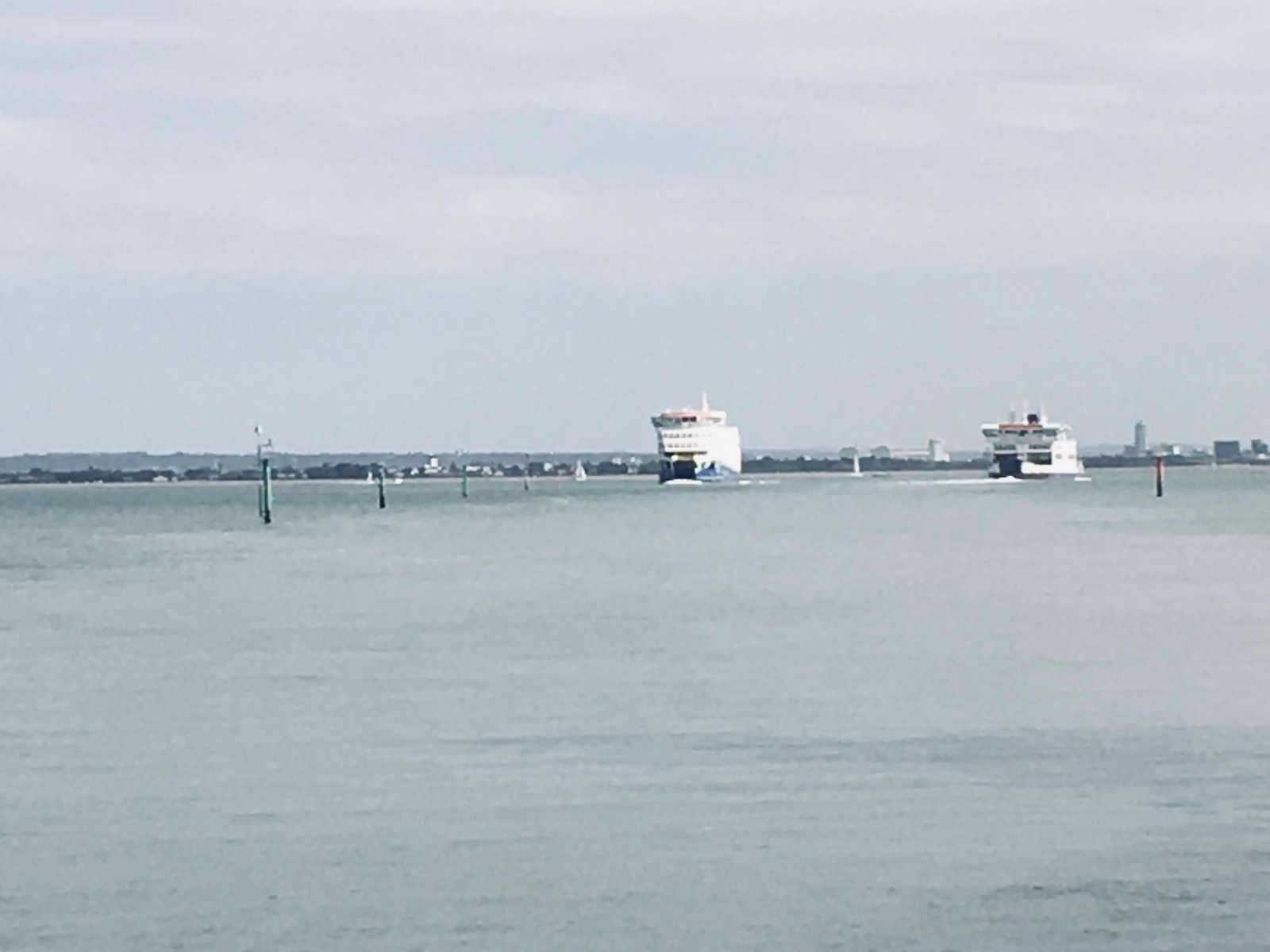 Isle of Wight ferries off Fishbourne.