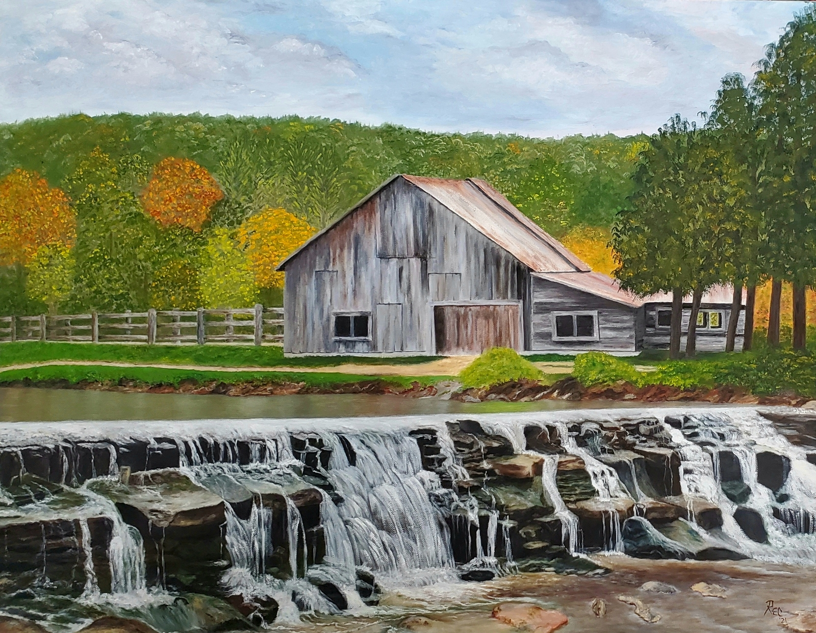 Barn & Waterfall