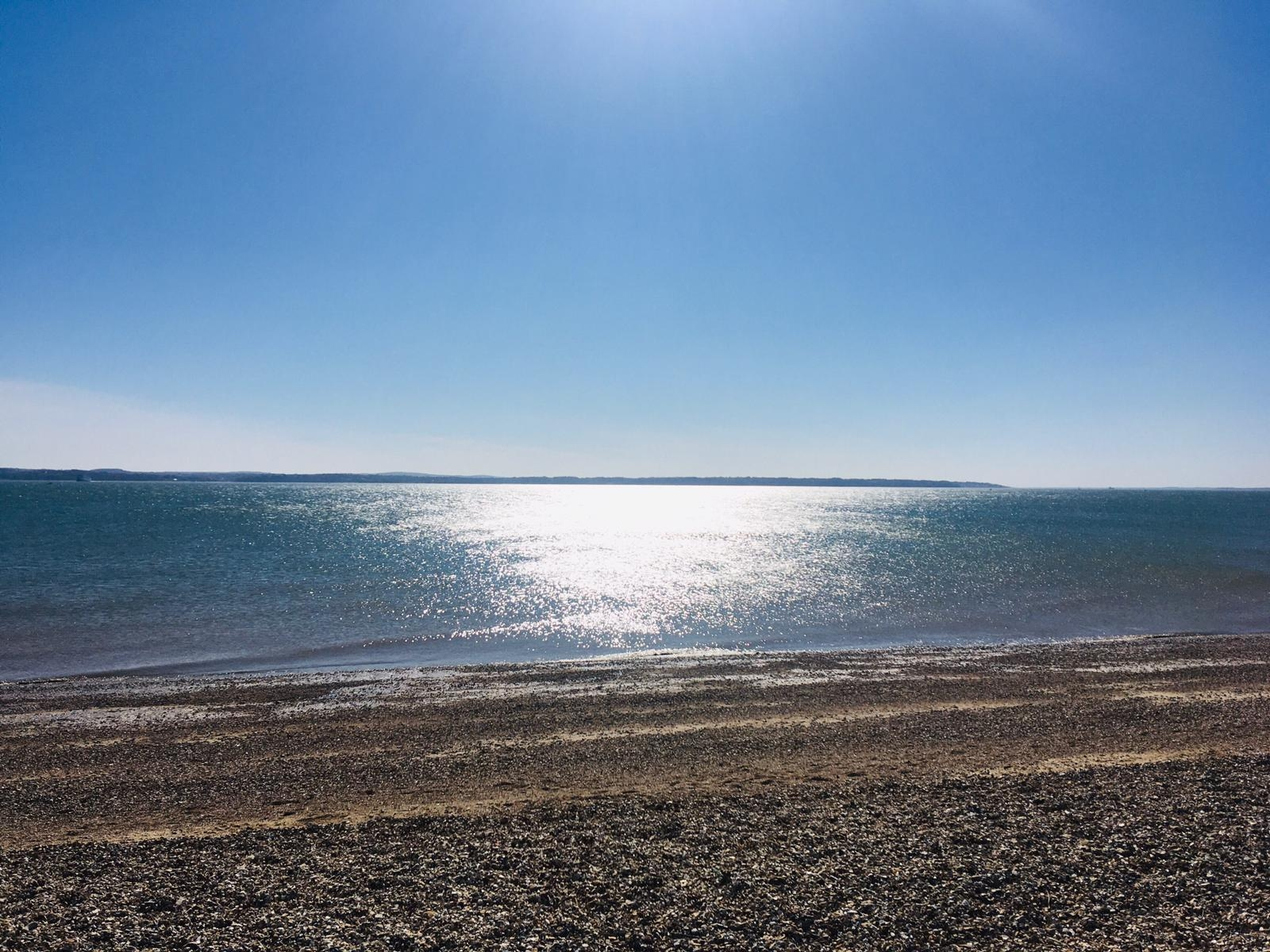 Sun reflecting on the Solent